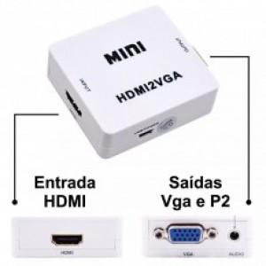 Conversor Adaptador HDMI P/ VGA com Saída de Áudio