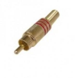 Plug RCA Dourado 3F - Vermelho e preto  - Pct com 20 pçs